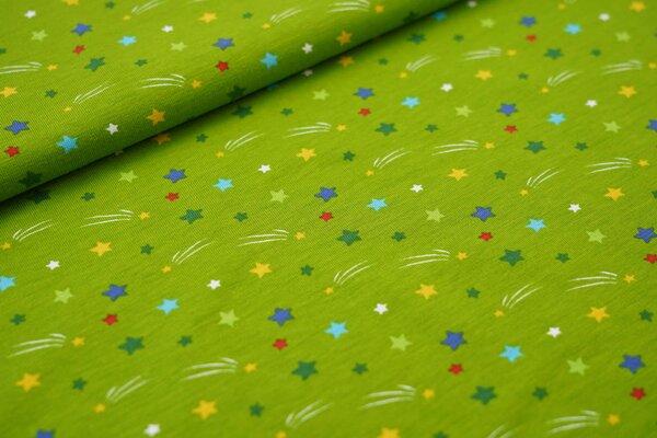 Baumwoll-Jersey Sterne und Sternschnuppen grün / bunt