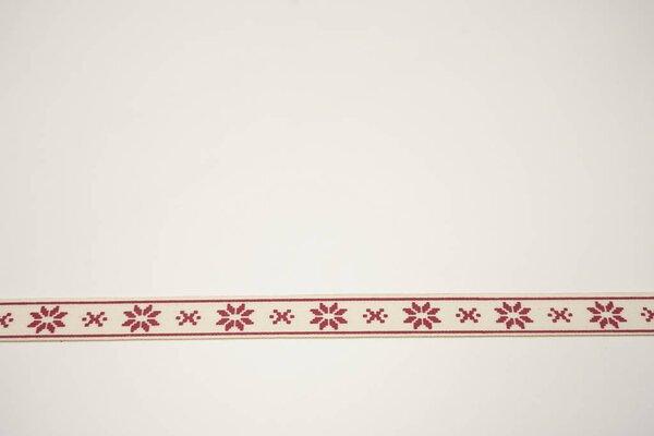 Webband rote Weihnachtssterne mit Rand auf natur 15 mm Zierband Dekoband