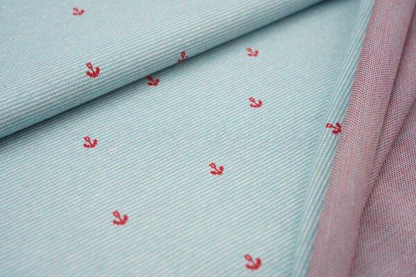 Jacquard-Sweat Ben kleine rote Anker auf eisblau / off white