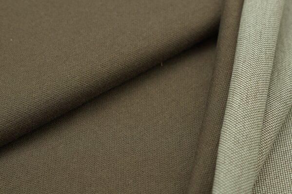 Jacquard-Sweat Ben taupe braun Uni mit taupe braun und off white Rückseite