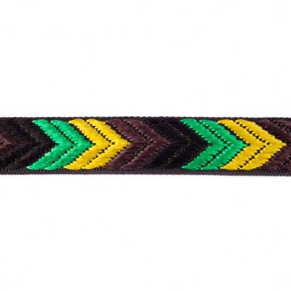 Breites Gurtband mit Pfeilen schwarz / braun / gelb / grün 36 mm
