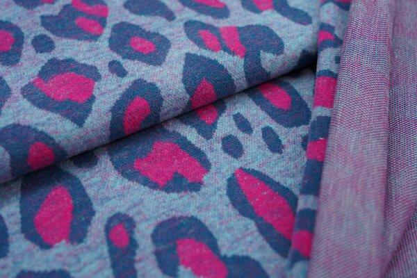 Kuschel Jacquard-Sweat Max XXL Leoparden Muster eisblau / amarant pink / petrol