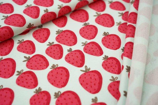 Baumwoll-Sweat Erdbeeren auf hell mint mit Gold Glitzer