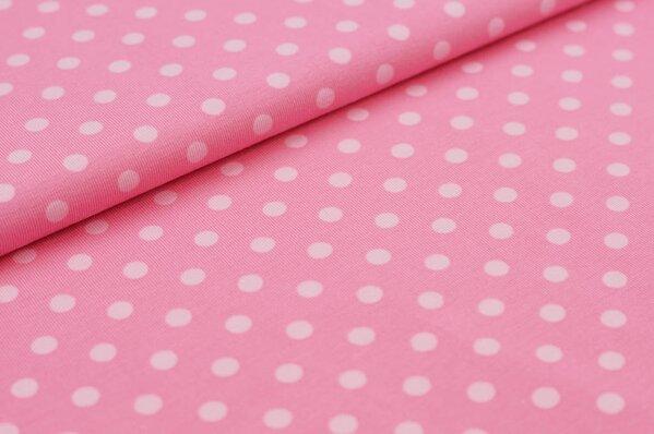 Baumwoll-Jersey große rosa Punkte auf hell pink