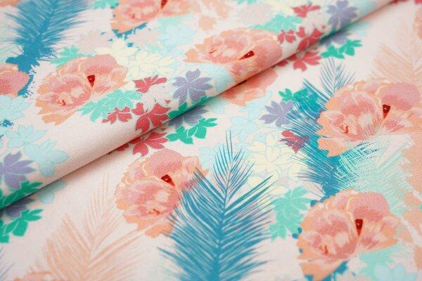 Baumwoll-Jersey Digitaldruck Blumen und Blätter koralle / lachs / mint / petrol