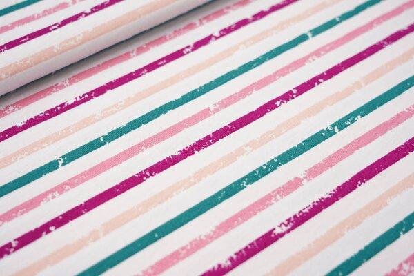 Sommer T-Shirt-Stoff / leichter Jersey Streifen Ringel weiß fuchsia rosa petrol