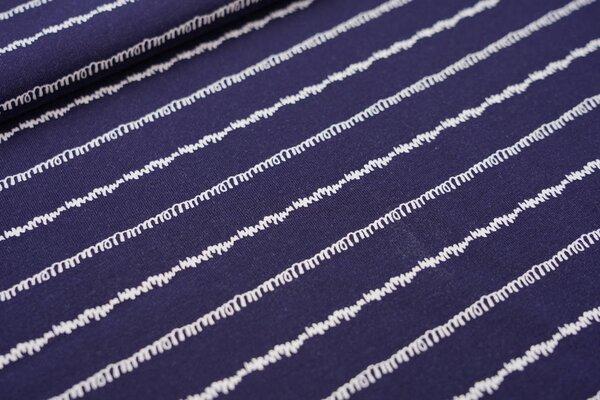 Baumwoll-Jersey gekritzelte Linien Streifen dunkelblau / weiß