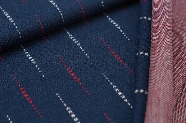 Jacquard-Sweat Ben off white / rote Striche vertikal auf navy blau