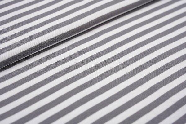 Glattes Ringelbündchen Streifen grau / weiß 7 mm