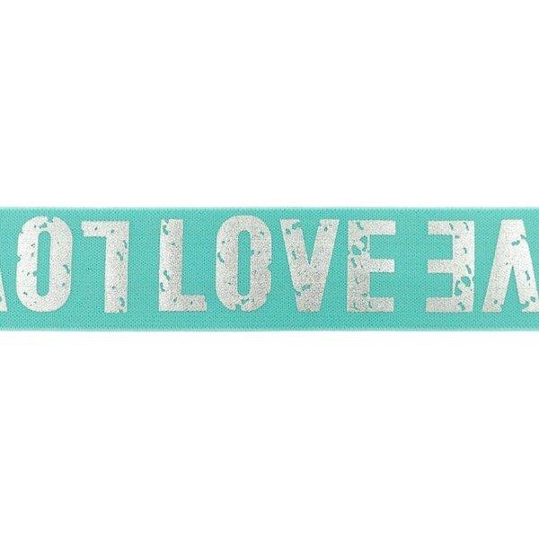 Breites Gummiband mint mit silbernem LOVE Schriftzug 40 mm
