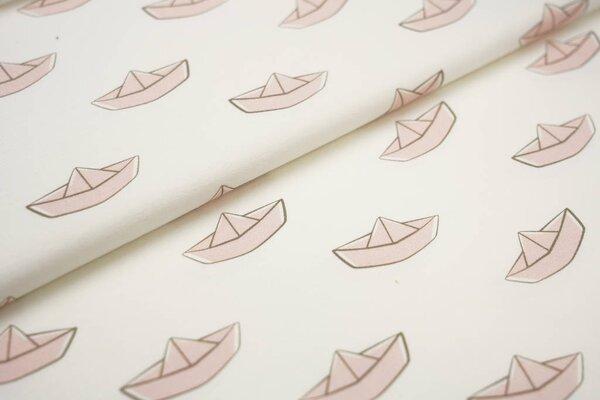 Baumwoll-Jersey Digitaldruck Papierschiffchen Boote off white / pastell lachs