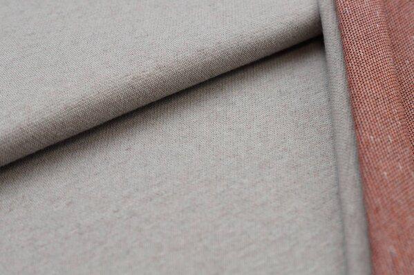 Jacquard-Sweat Ben hellgrau Uni mit rostorange schwarz und off white Rückseite