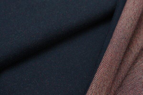 Jacquard-Sweat Ben navy blau Uni mit rot, off white und navy blau Rückseite