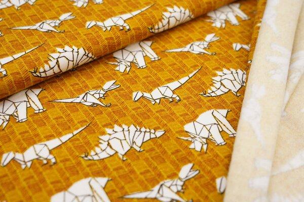 Kuscheliger Baumwoll-Sweat mit weißen Origami Dinosauriern auf senf ockerbraun