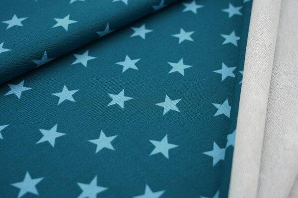 Baumwoll-Sweat große Sterne petrol / hellblau