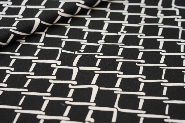 Viskose-Jersey Zaungitter Muster schwarz / weiß