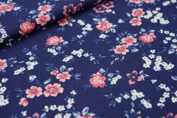 Sommer T-Shirt-Stoff / leichter Jersey mit kleinen Blumen auf dunkelblau