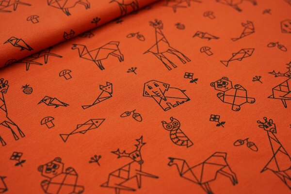 Baumwoll-Jersey Origami Tiere und Pflanzen auf rostorange Bär Eule Fuchs Elefant