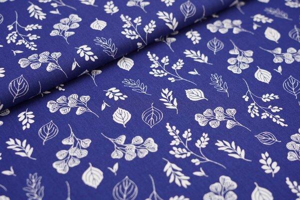 Baumwollstoff Baumwolle weiße Blätter auf dunkelblau