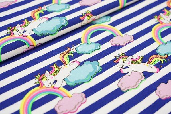 Baumwoll-Jerseystoff Streifen blau / weiß und neon Einhorn auf Wolken