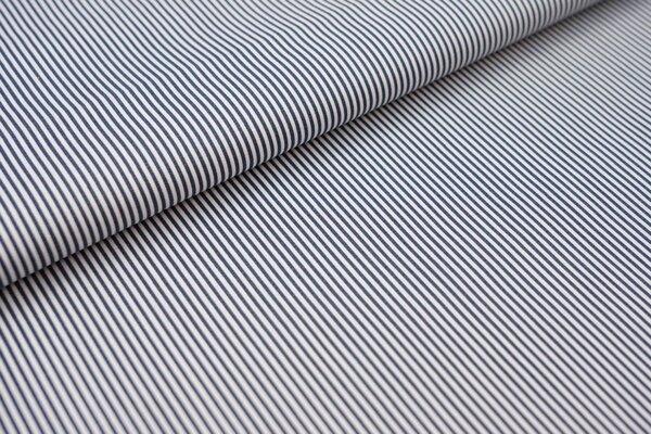 Baumwollstoff Ringel Streifen schmal stahlblau / weiß