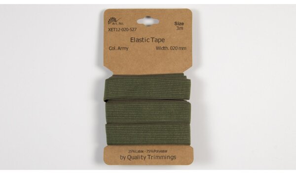 3 m elastisches Gummiband Flachgummi uni armeegrün khaki grün 20 mm breit