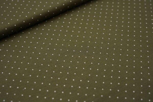 Viskose-Jersey kleine Punkte khaki grün / weiß