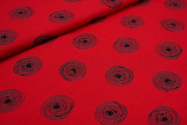 Viskose-Jersey große schwarze Kreise Punkte auf rot