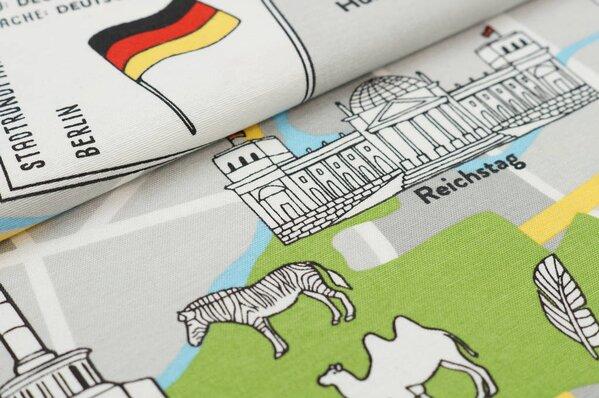 Dekostoff Canvas Berlin Karte Stadtplan grau / blau / grün