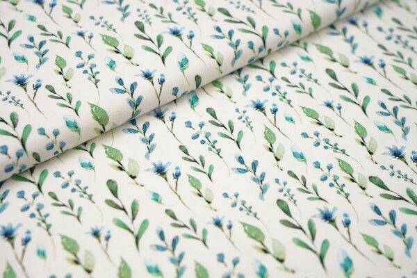 Digitaldruck Baumwoll-Jersey Aquarell mit Pflanzen Blätter Blumen in grün blau mint auf off white cr