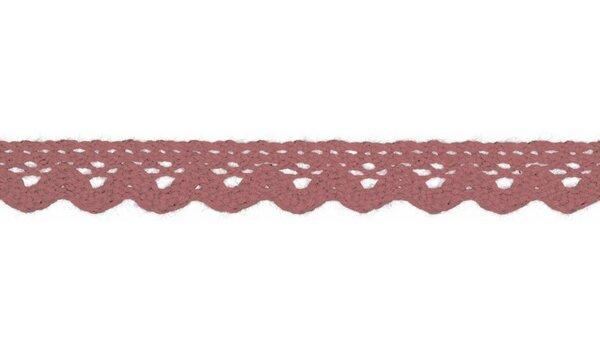 Baumwolle Spitzenborte Häkelborte uni dunkel altrosa 15 mm breit Klöppelspitze