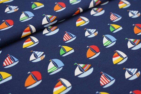 Baumwoll-Jersey bunte Segelschiffe Boote auf dunkelblau