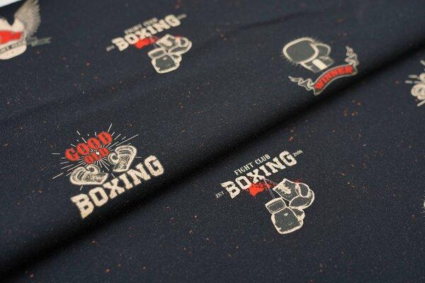Baumwoll-Jersey Digitaldruck Boxing Boxhandschuhe Boxer auf schwarz