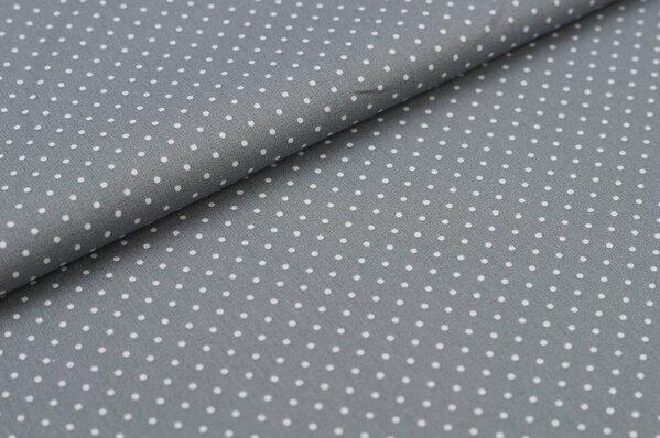 Baumwollstoff Baumwolle grau mit kleinen weißen Punkten