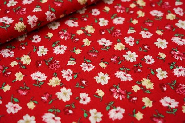 Baumwollstoff mit Blumen rot / koralle / weiß / zartgelb / grün