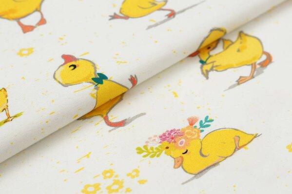 Baumwoll-Jersey Digitaldruck gelbe Enten und Blumen auf off white