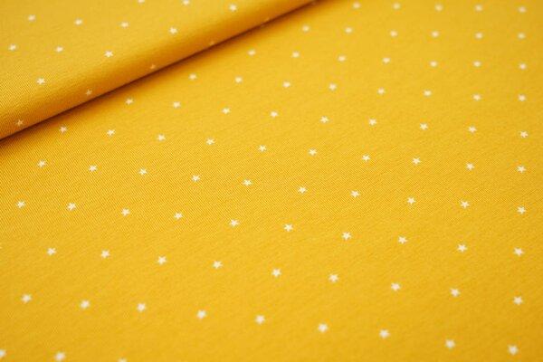 Baumwoll-Jersey kleine weiße Sterne auf senfgelb