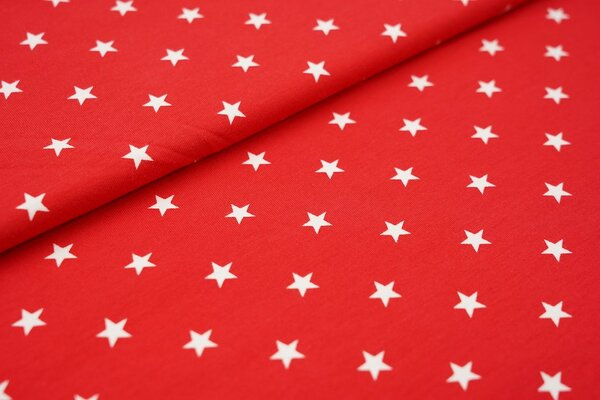 Baumwoll-Jersey weisse Sterne auf rot