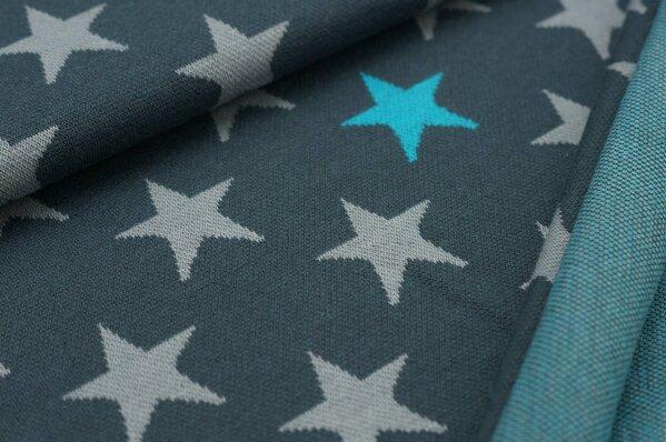 Jacquard-Sweat Ben hellgraue und türkise Sterne auf dunkelgrau