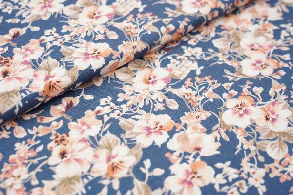 Baumwoll-Jersey Stiefmütterchen Blumen auf jeansblau