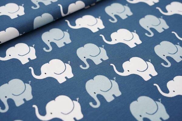 Baumwoll-Jersey Elefanten Parade blaugrau / grau / weiß