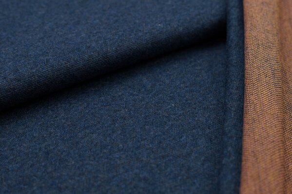 Jacquard-Sweat Mia navy blau Melange Uni mit koralle und senf Rückseite