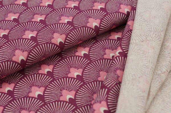 Dekostoff Canvas Blumen-Fächer bordeaux rot / rosa / natur