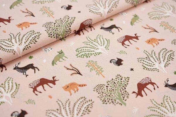Baumwollstoff Waldtiere Bäume Reh Hirsch Hase Fuchs Eichhörnchen auf lachs rosa