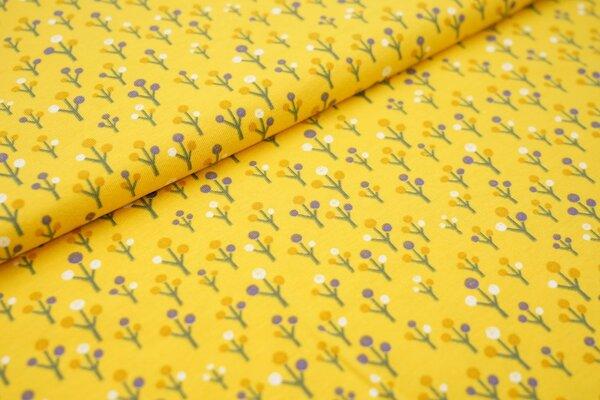 Baumwoll-Jersey kleine Bäume Pflanzen auf gelb
