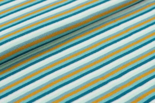 Ringelbündchen bunte Streifen petrol / eisblau / senf / altmint / mint