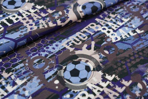 Baumwoll-Jersey Fußball Fußbälle in Waben blau / taupe braun /schwarz / weiß
