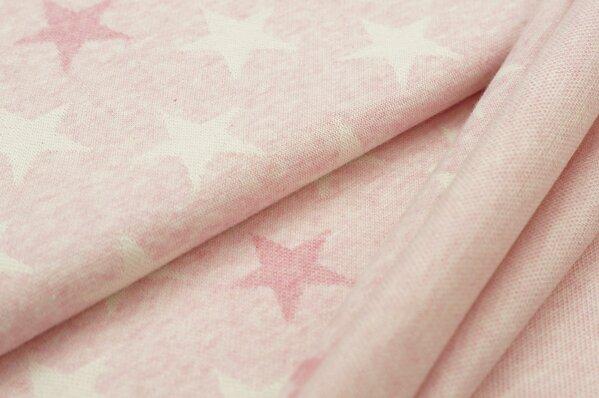 Jacquard-Sweat Mia off white und pastell pinke Sterne auf pastell rosa Melange
