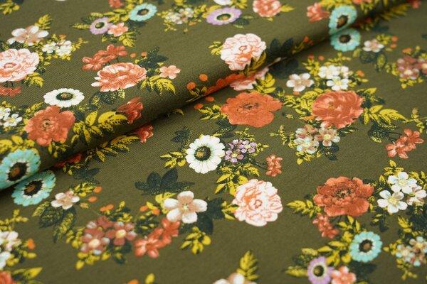 Baumwoll-Jersey bunte Blumen Wildrosen auf khaki grün
