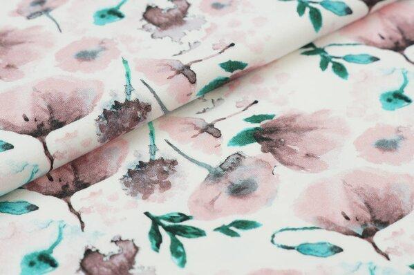 Baumwoll-Jersey Digitaldruck rosa Aquarell Blumen mit braun / grün auf off white
